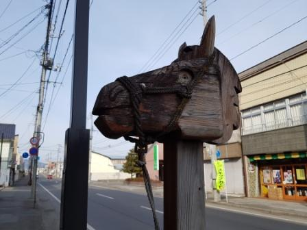 Carved horse head in Tono, Iwate, Japan