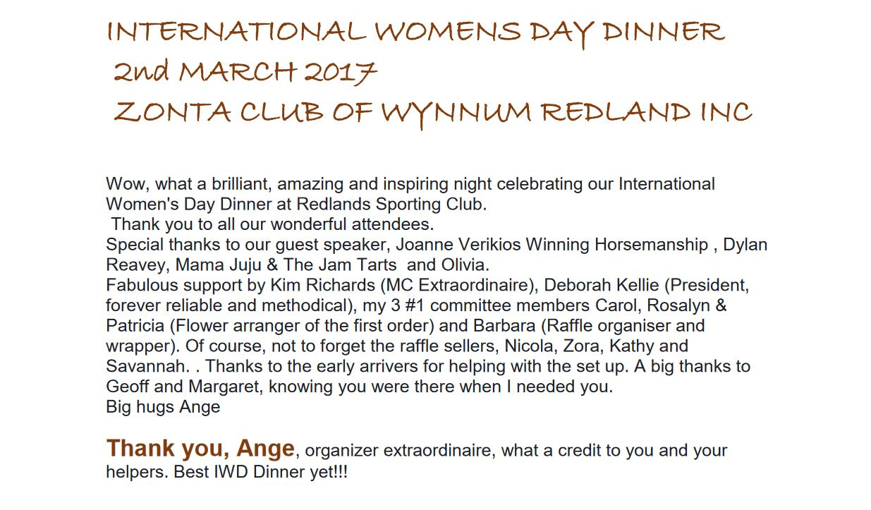 Zonta Club of Wynnum Redlands Inc: Wow, what a brilliant, amazing and inspiring night celebrating our International  Women's Day Dinner at Redlands Sporting Club.  Thank you to all our wonderful atte ndees.  Special thanks to our guest speaker, Joanne Verikios Winning Horsemanship