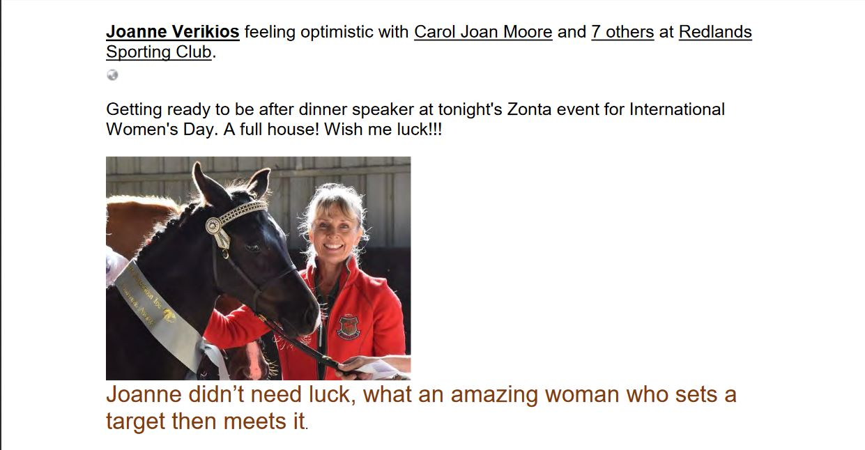 Zonta Club of Wynnum Redlands Inc: Joanne Verikios is an amazing woman who sets a traget and then meets it